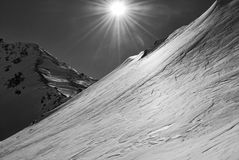 On the glacier. Sun over the mountain climbing galehorn Royalty Free Stock Image