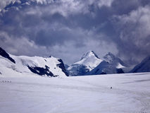 On the glacier. View of pollux and castor climbing breithorn Royalty Free Stock Photo