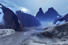 Glacier. Digital render of a glacial valley with early morning mist and haze stock illustration