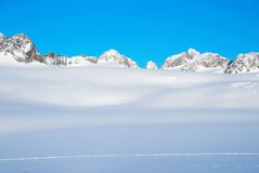 Glacier. Landscape of Greenland on a glacier with mountains stock photography