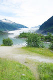 Glacier. A landscape of glacier between two mountains in Alaska Stock Photo