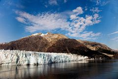 Glacier in Alaska from a cruise ship on a summer morning. stock photo