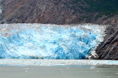 Glacier in Alaska. Sawyer Glacier, with its blue ices, at the end of Tracy Arm's fiord, southeast Alaska stock photo