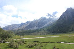 glacier alpin et prairie images stock