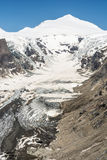 Glacier in the alps. The Pasterze, the longest glacier of Austria at the Grossglockner group mountains Royalty Free Stock Photography