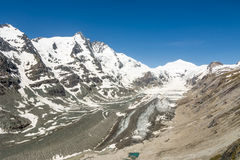 Glacier in the alps. The Pasterze, the longest glacier of Austria at the Grossglockner group mountains Stock Photo