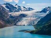 Mountain range and glacier stock photos