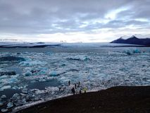 Glacier in bird eyes view. Viewing Jokulsalon, large glacier lagoon in South Iceland Royalty Free Stock Image