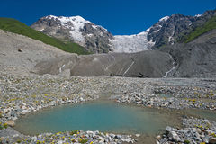 Glacier and blue lake Stock Photo