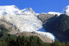 Glacier of Bossons and Mont-Blanc mountains, Franc Royalty Free Stock Images