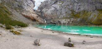 Glacier Briksdal Trail Lake Jostedal Royalty Free Stock Photography