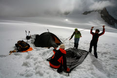 Glacier camping Royalty Free Stock Images
