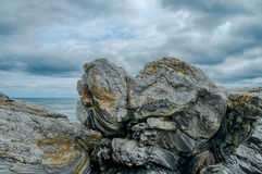 Glacier carved rock on the New England Coast Royalty Free Stock Photo