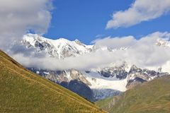 Glacier in the Caucasus mountain range in Georgia. Mountain land Stock Photos