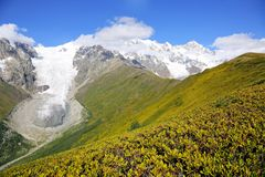 Glacier in the Caucasus mountain range in Georgia. Mountain land Royalty Free Stock Photography