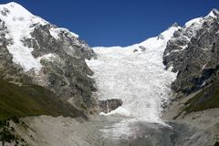 Glacier in the Caucasus mountain range in Georgia. Mountain land Stock Image