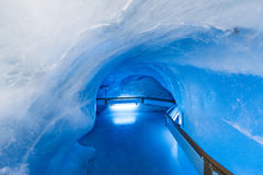 Glacier cave tunnel at Mount Titlis Royalty Free Stock Photos