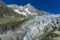 Glacier in Chamonix valley, Alps. Glacier ice and snow falling in the Chamonix valley, Alps stock photo