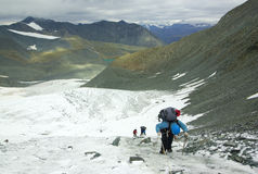 Glacier climbers team. And mountain landscape Stock Photo