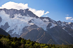A Glacier Clings to The Face of Mt Sefton. Royalty Free Stock Photos