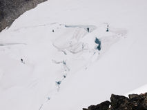 Glacier close up with crevasses Stock Photos