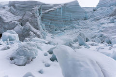 Glacier. A glacier in the Cordillera Blanca up close and in detail Royalty Free Stock Photography