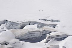 Glacier crevasses and seracs in a snow field in the Mont Blanc a Stock Photos