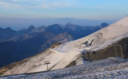 Glacier with crevasses on the Titlis Royalty Free Stock Images