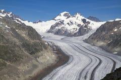 Glacier d'Aletsch, le plus long glacier dans les Alpes images libres de droits