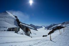 Glacier d'Aletsch regardant du plateau Images stock