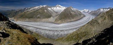 Glacier d'Aletsch - vue panoramique Image libre de droits