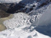Glacier dans les hautes Cordillères Photo stock