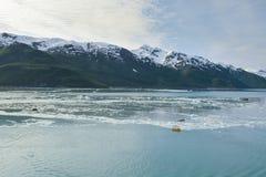 Glacier de Hubbard un jour nuageux Images libres de droits