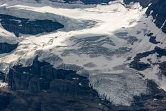 Glacier detail near Lake Louise. Glacier view from Fairview Mountain at Lake Louise, Banff National Park, Alberta, Canada Stock Image