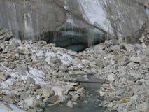 Glacier door with icycles Stock Photos