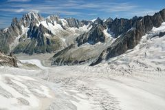 Glacier du Tacul in french Alps. Long Glacier du Tacul in french Alps Royalty Free Stock Images