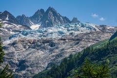 Glacier du Tour στα γαλλικά ελβετικά σύνορα του abo της Mont Blanc Στοκ εικόνα με δικαίωμα ελεύθερης χρήσης