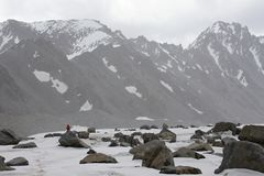 On the glacier Dugoba, Pamir-alay Royalty Free Stock Photos