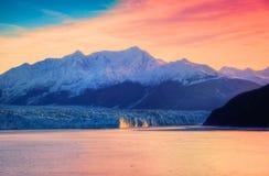 Glacier et lever de soleil de Hubbard Image stock