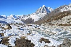 Glacier beside of everest basecamp from everest trek Stock Photo