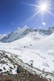 Glacier beside of everest basecamp from everest trek Stock Photos