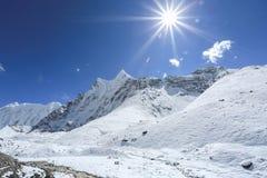 Glacier beside of everest basecamp from everest trek Royalty Free Stock Photography
