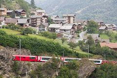 Glacier express train passes Royalty Free Stock Photography