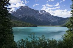 Glacier fed lake in Canada. With turquoise waters stock photo