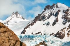 Glacier in the Fitz Roy Mountain Range, Argentina. Royalty Free Stock Images