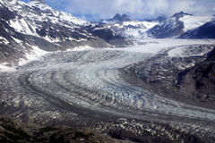 Glacier Flow. Glacier ice flow aerial shot in Lake Clark National Park stock photography