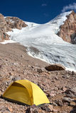 Glacier Flow and Yellow Tent Stock Image