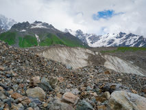 Glacier at the foot of the mountain Shkara Stock Image