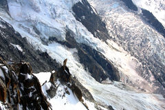 Glacier in French Alps. A glacier in the french Alps near Chamonix and the Mont-Blanc Royalty Free Stock Images