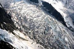 Glacier in French Alps. A glacier in the french Alps near Chamonix and the Mont-Blanc Stock Image